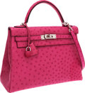 Luxury Accessories:Bags, Hermes 32cm Fuschia Ostrich Retourne Kelly Bag with Palladium Hardware. ...
