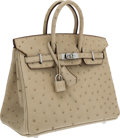 Luxury Accessories:Bags, Hermes 25cm Beige Ostrich Birkin Bag with Palladium Hardware. ...