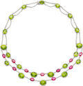 Estate Jewelry:Necklaces, Peridot, Tourmaline, Diamond, White Gold Necklace. ...
