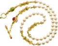 Estate Jewelry:Necklaces, Cultured Pearl, Multi-Stone, Gold Necklace, Cynthia Bach. ...