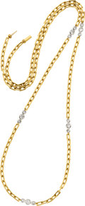Estate Jewelry:Necklaces, Diamond, Gold, Platinum Necklace, David Webb. ...