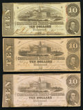 Confederate Notes:1862 Issues, T52 $10 1862. Two Examples.. T59 $10 1863.. ... (Total: 3 notes)