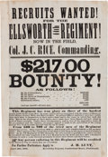 Miscellaneous:Broadside, [Civil War]. Ellsworth Regiment Recruitment Broadside....
