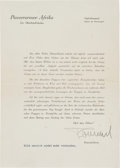 Autographs:Non-American, German Military Commander Erwin Rommel Document Signed...