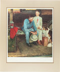 "Books:Prints & Leaves, Norman Rockwell. Lithographic Print [""Breaking Home Ties""]. [N.p.,n.d., ca. 1970's]. Signed by Rockwell at bottom right i..."