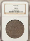Seated Dollars: , 1863 $1 VG10 NGC. NGC Census: (2/73). PCGS Population (3/126).Mintage: 27,200. Numismedia Wsl. Price for problem free NGC/...