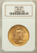 Saint-Gaudens Double Eagles: , 1907 $20 Arabic Numerals MS65 NGC. NGC Census: (703/106). PCGSPopulation (2139/363). Mintage: 361,667. Numismedia Wsl. Pri...