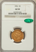 Three Dollar Gold Pieces: , 1856 $3 AU50 NGC. CAC. NGC Census: (38/576). PCGS Population(71/380). Mintage: 26,010. Numismedia Wsl. Price for problem f...