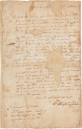 Autographs:Statesmen, [Revolutionary War]. George Washington Letter Signed....