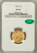 Three Dollar Gold Pieces: , 1854 $3 AU58 NGC. CAC. NGC Census: (1199/865). PCGS Population(461/618). Mintage: 138,618. Numismedia Wsl. Price for probl...