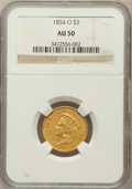 Three Dollar Gold Pieces: , 1854-O $3 AU50 NGC. NGC Census: (100/377). PCGS Population(96/109). Mintage: 24,000. Numismedia Wsl. Price for problem fre...