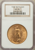Saint-Gaudens Double Eagles: , 1908 $20 Motto MS63 NGC. NGC Census: (443/275). PCGS Population(671/600). Mintage: 156,200. Numismedia Wsl. Price for prob...