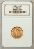 Liberty Half Eagles: , 1891-CC $5 MS63 NGC. NGC Census: (164/74). PCGS Population(112/72). Mintage: 208,000. Numismedia Wsl. Price for problem fr...
