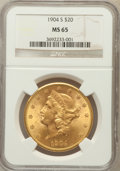 Liberty Double Eagles: , 1904-S $20 MS65 NGC. NGC Census: (284/1). PCGS Population (175/2).Mintage: 5,134,175. Numismedia Wsl. Price for problem fr...