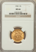Liberty Half Eagles: , 1900 $5 MS66 NGC. NGC Census: (27/5). PCGS Population (6/2).Mintage: 1,405,730. Numismedia Wsl. Price for problem free NGC...