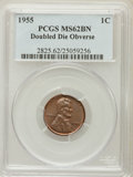 Lincoln Cents: , 1955 1C Doubled Die Obverse MS62 Brown PCGS. PCGS Population(322/588). NGC Census: (469/410). Mintage: 5,000. Numismedia W...