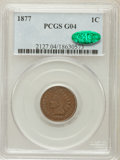 Indian Cents: , 1877 1C Good 4 PCGS. CAC. PCGS Population (422/2824). NGC Census:(228/1695). Mintage: 852,500. Numismedia Wsl. Price for p...