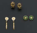 Estate Jewelry:Earrings, Three Pairs Of Gold Earrings. ... (Total: 3 Items)