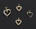 Estate Jewelry:Pendants and Lockets, Four Diamond & Gold Heart Pendants. ... (Total: 4 Items)