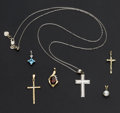 Estate Jewelry:Other , Three Gold Crosses & Three Gold Pendants. ... (Total: 6 Items)