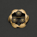 Estate Jewelry:Brooches - Pins, 18k Gold & Pearl Black Onyx Brooch. ...
