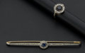 Estate Jewelry:Other , Vintage Sapphire & Diamond Gold Ring & Brooch. ... (Total: 2 Items)