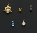 Estate Jewelry:Pendants and Lockets, 18k Gold Cultured Pearl & Four 10k Gold Pendants. ... (Total: 5Items)