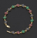 Estate Jewelry:Bracelets, Ruby Sapphire & Emerald Gold Bracelet. ...