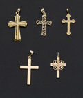 Estate Jewelry:Other , Five Gold Crosses. ... (Total: 5 Items)