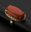 Estate Jewelry:Rings, Ox Blood Coral 18k Gold Ring. ...