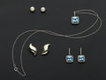 Estate Jewelry:Other , Three Pair Of Earrings & One Gold Pendant. ... (Total: 4 Items)