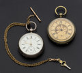 Timepieces:Pocket (pre 1900) , P.S. Bartlett & Swiss Cylinder Key Winds Pocket Watches &Chain. ... (Total: 3 Items)