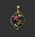 Estate Jewelry:Pendants and Lockets, Ruby Sapphire & Emerald Gold Pendant. ...