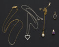 Estate Jewelry:Pendants and Lockets, Five 14k Gold Pendant & Two Chains. ... (Total: 5 Items)