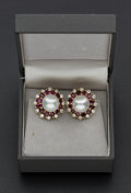 Estate Jewelry:Earrings, Exceptional Pearl & Ruby Diamond 18k Gold Earrings. ...