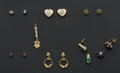 Estate Jewelry:Earrings, A Lot Of Seven Stud Earrings & One Gold Pendant. ... (Total: 7Items)