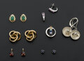 Estate Jewelry:Earrings, A Lot Of Seven Gold & One Silver Earrings. ... (Total: 7 Items)
