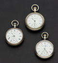 Timepieces:Pocket (post 1900), Two Elgin's & One Waltham Pocket Watches Runners. ... (Total: 3Items)