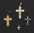 Estate Jewelry:Pendants and Lockets, Four Gold Cross Pendants. ... (Total: 4 Items)