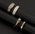 Estate Jewelry:Rings, Four Diamond Gold Rings. ... (Total: 4 Items)