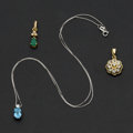 Estate Jewelry:Pendants and Lockets, Three Gold Pendants. ... (Total: 3 Items)
