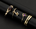 Estate Jewelry:Rings, Four Gold Rings. ... (Total: 4 Items)