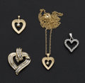 Estate Jewelry:Pendants and Lockets, Four Gold & Diamond Heart Pendants. ... (Total: 4 Items)