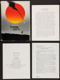 """Empire of the Sun (Warner Brothers, 1987). Presskit with Production Notes (38 Pages, 8.5"""" X 11"""") & Photos..."""