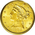 Liberty Half Eagles: , 1903 $5 MS64 PCGS. Lustrous honey-gold coloring washes the surfacesof this coin, with a horizontal stripe of orange-gold c...