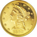 Proof Liberty Half Eagles: , 1892 $5 PR62 Cameo PCGS. A rare coin from a recorded proof mintageof 92 examples, of which the just-issued Garrett-Guth go...