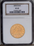 Liberty Eagles: , 1876-S $10 XF45 NGC. This issue had a sporadic mintage of only5,000 coins. The present example has light, even wear on the...