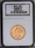 Liberty Eagles: , 1878 $10 MS61 NGC. A well struck and lustrous example of this date, elusive in Mint State. The khaki-gold surfaces have the...