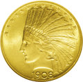 Indian Eagles: , 1908 $10 Motto MS65 NGC. The first P-mint issue of the Motto type,the 1908 has an original mintage of 341,602 pieces. This...