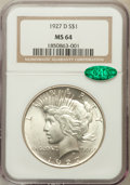 Peace Dollars: , 1927-D $1 MS64 NGC. CAC. NGC Census: (773/77). PCGS Population(1175/143). Mintage: 1,268,900. Numismedia Wsl. Price for pr...